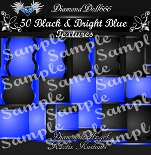 50 Black & Bright Blue Textures