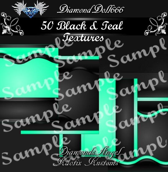 50 Black & Teal textures