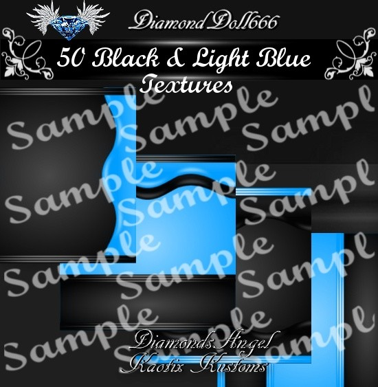 50 Black & Light Blue Textures