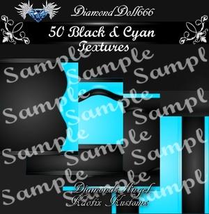 50 Black & Cyan Textures