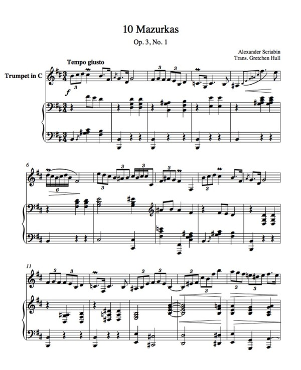 Scriabin Mazurka Op. 3, No. 1 transcribed and adapted for Trumpet and Piano