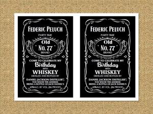 Invitación tipo Jack Daniels, paga con paypal, descarga inmediata. / Party Invitation pdf editable