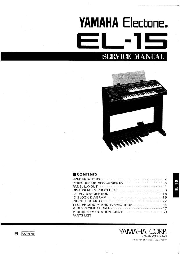 Yamaha EL15 Service Manual