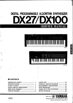 Yamaha DX27. DX100. Service Manual