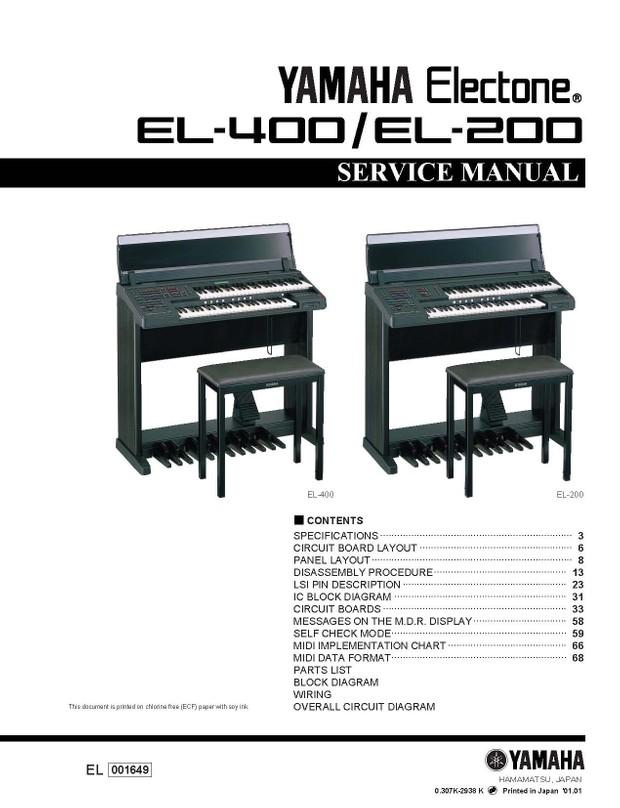 Yamaha EL200. EL400. Service Manual