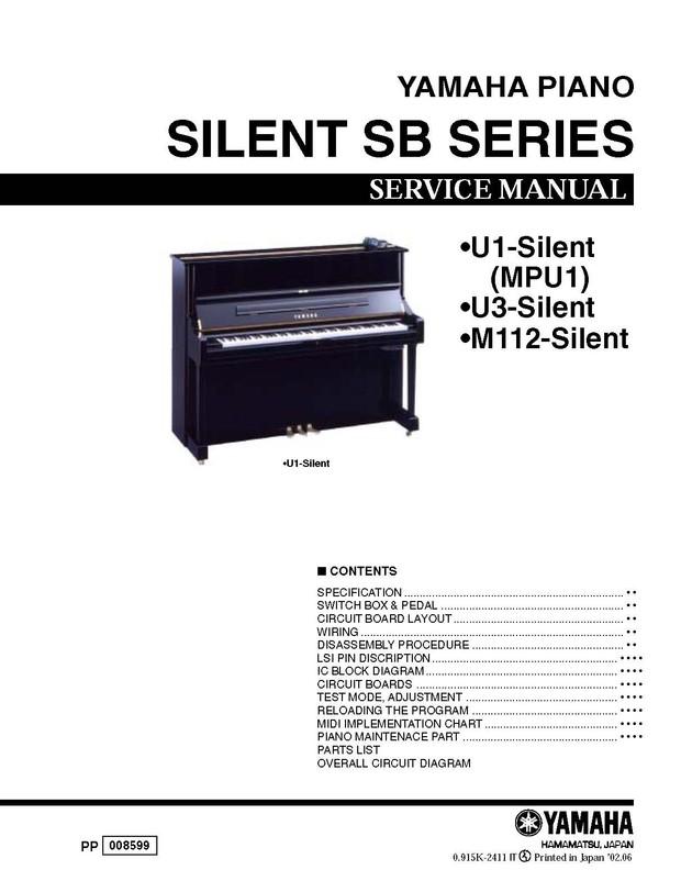 Yamaha M112. U1. MPU1. U3. Silent SB Series Service Manual