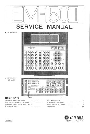 Yamaha EM150-II Service Manual