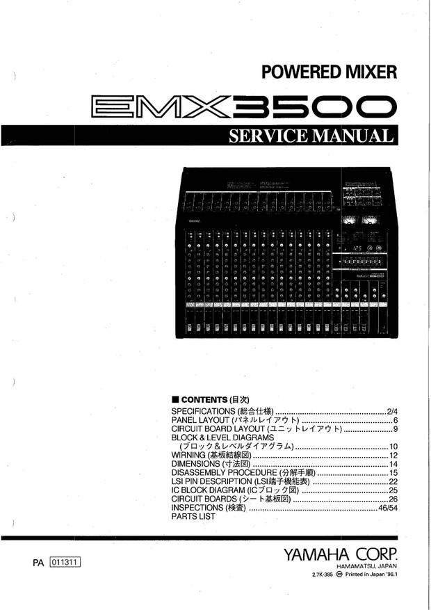 Yamaha EMX3500 Service Manual