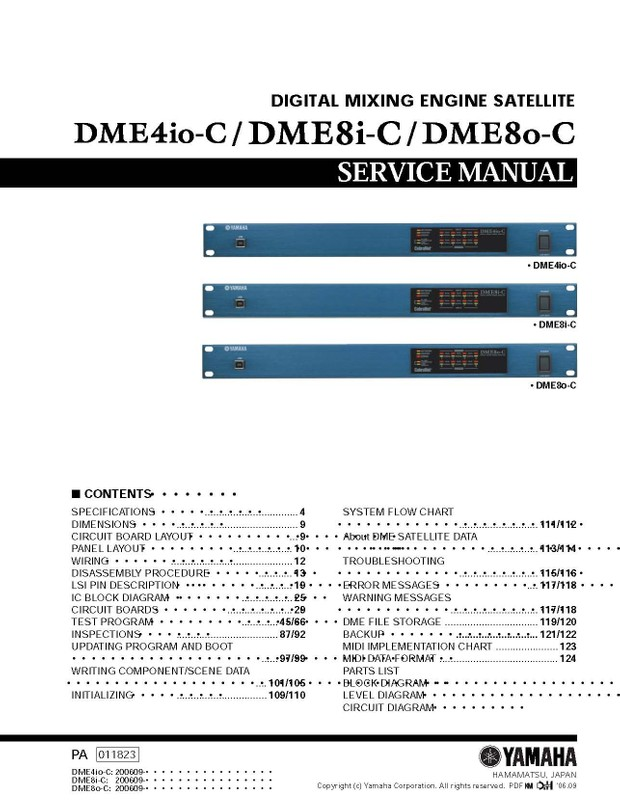 Yamah DME4io-C. DME8i-C. DME8o-C Service Manual