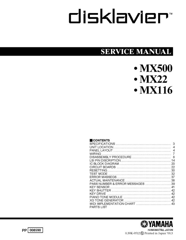 Yamaha MX500 Disklavier Service Manual