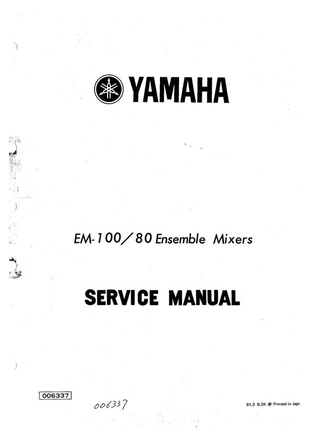 Yamaha EM100-80 Service Manual