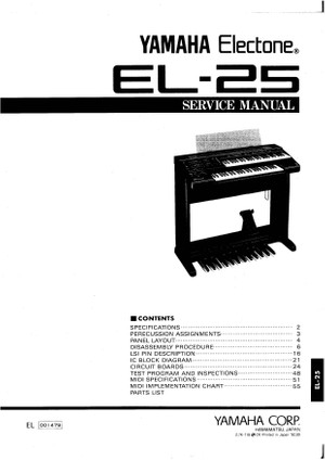 Yamaha EL25 Service Manual
