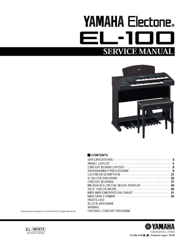 Yamaha EL100 Service Manual
