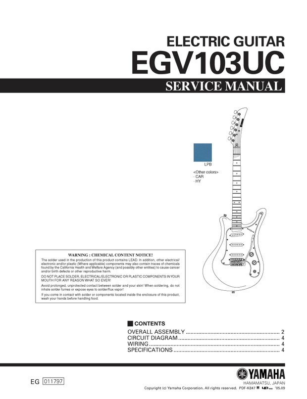 Yamaha EGV103UC Service Manual
