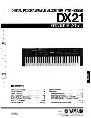 Yamaha DX21 Service Manual