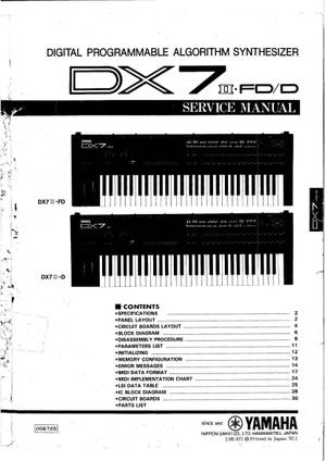 Yamaha DX7II-D. DX7II-FD. Service Manual