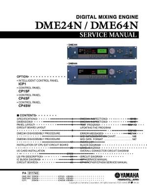Yamaha DME24N. DME64N. ICP1. CP1SF. CP4SF. CP4SW. Service Manual