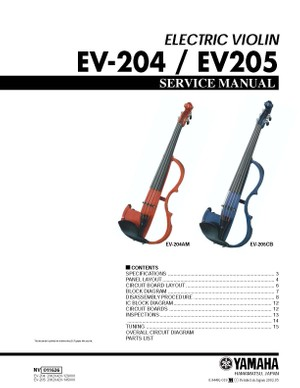 Yamaha EV204. EV205. Service Manual