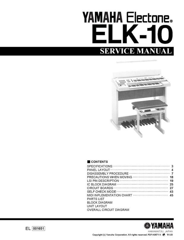 Yamaha ELK10 Service Manual