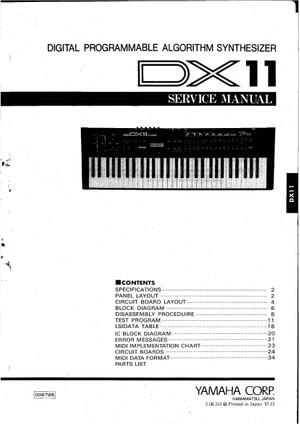 Yamaha DX11 Service Manual
