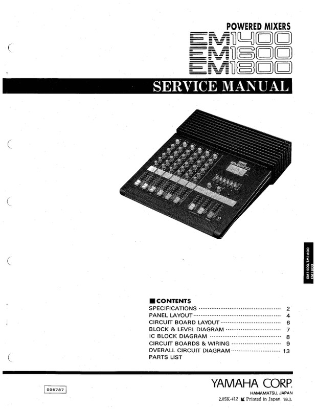 Yamaha EM1400  EM1600  EM1800 Service Manual