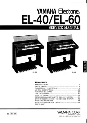 Yamaha EL40. EL60. Service Manual