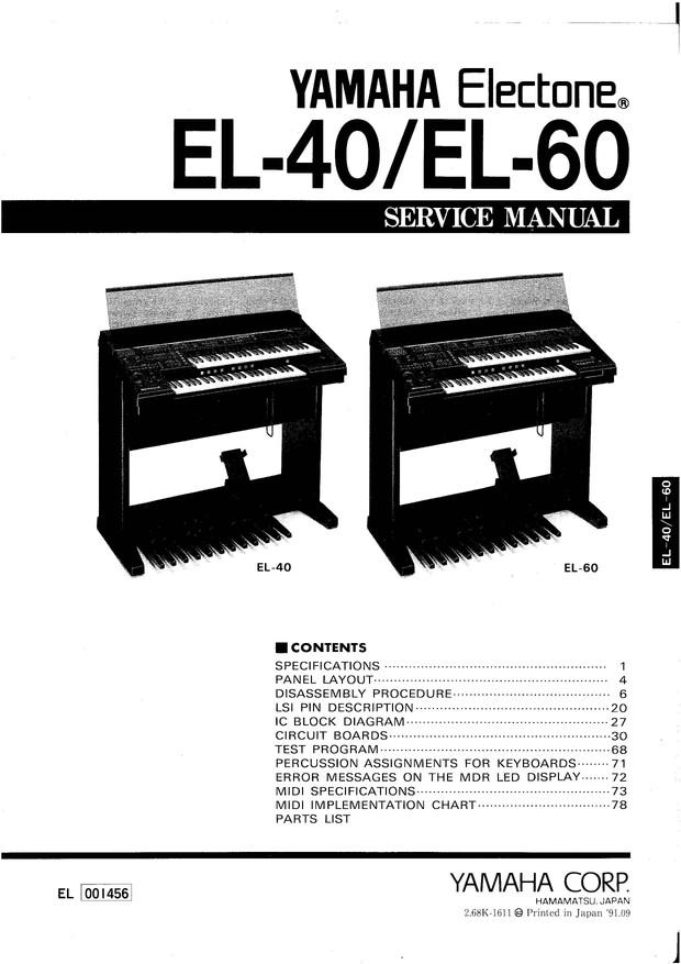 Yamaha EL40. EL60. Service Manual