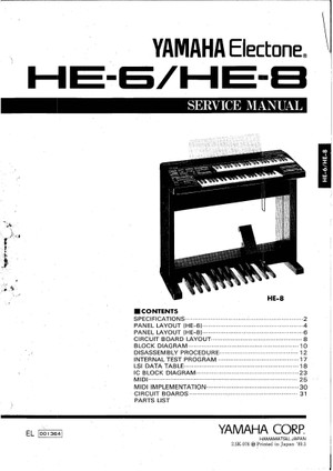 Yamaha HE6 HE8 Service Manual