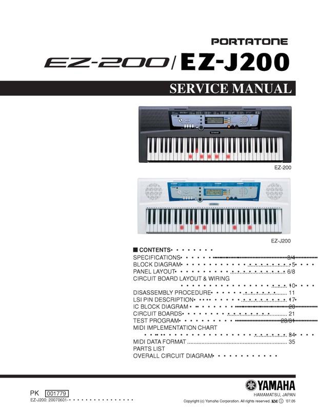 Yamaha EZ200. EZ-J200 Service Manual