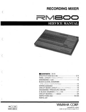 Yamaha RM800 Service Manual