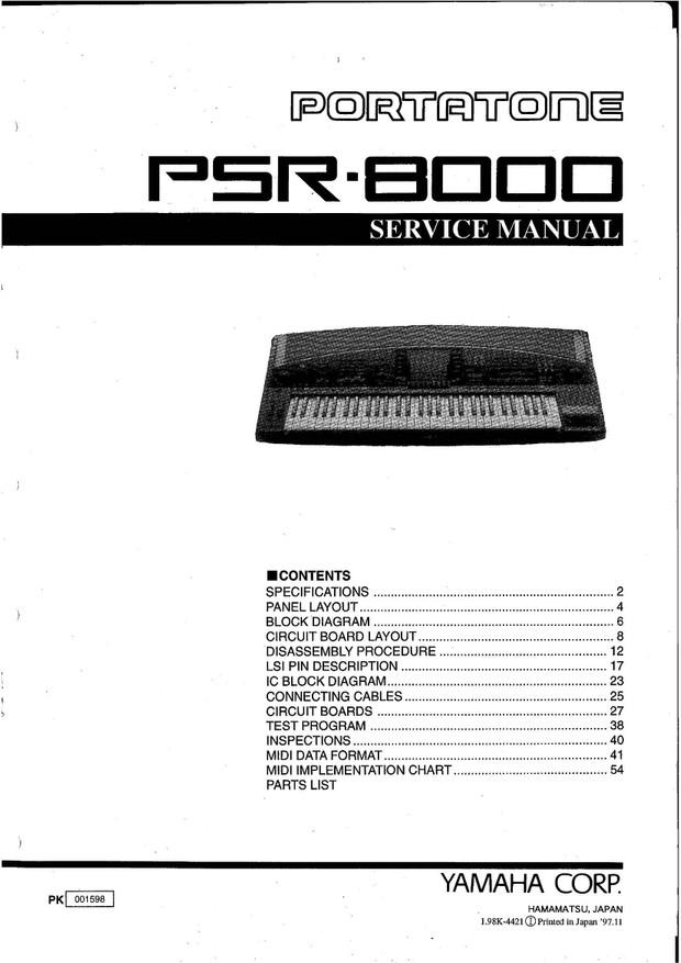 Yamaha PSR8000 Service Manual