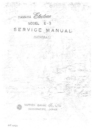 Yamaha E3 Service Manual