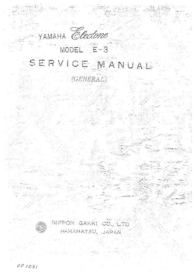 Yamaha E3 Service Manual