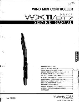 Yamaha WX11 Wind Midi Controller Service Manual