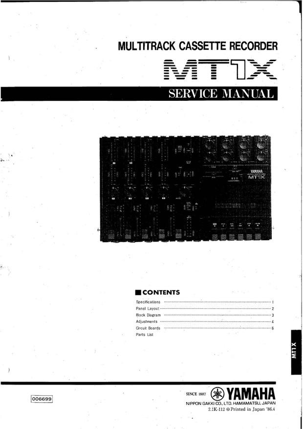 Yamaha MTX1 Service Manual