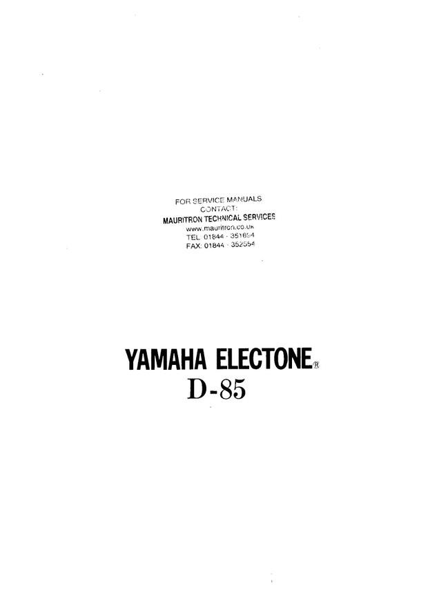 Yamaha D85 Service Manual