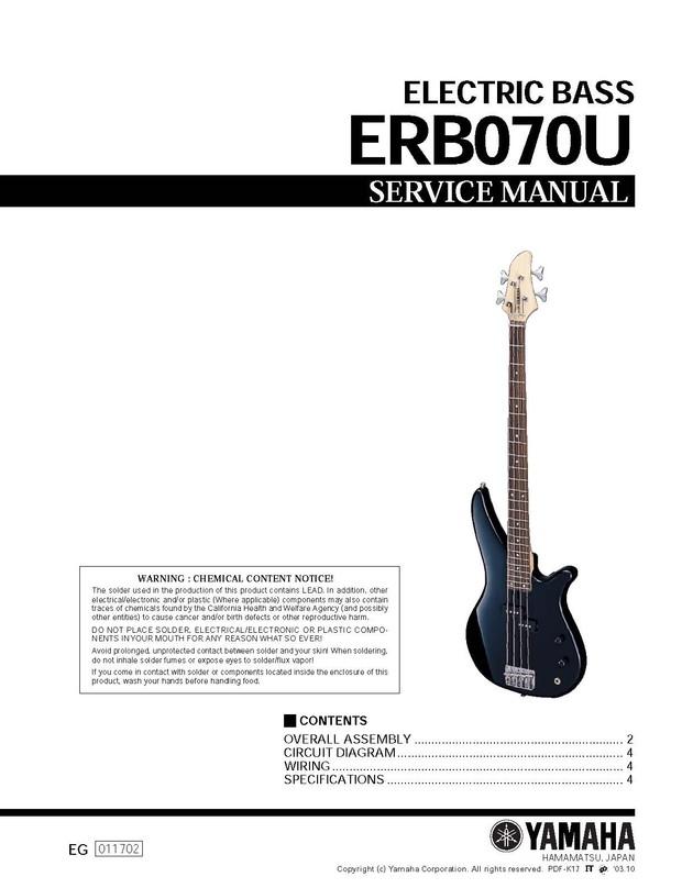 Yamaha ERB070U Service Manual