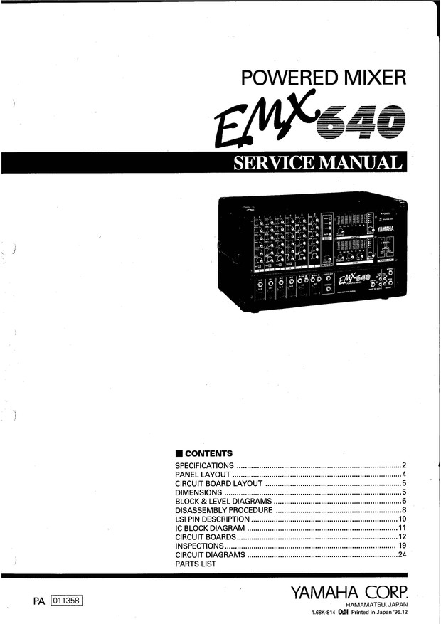 Yamaha EMX640 Service Manual