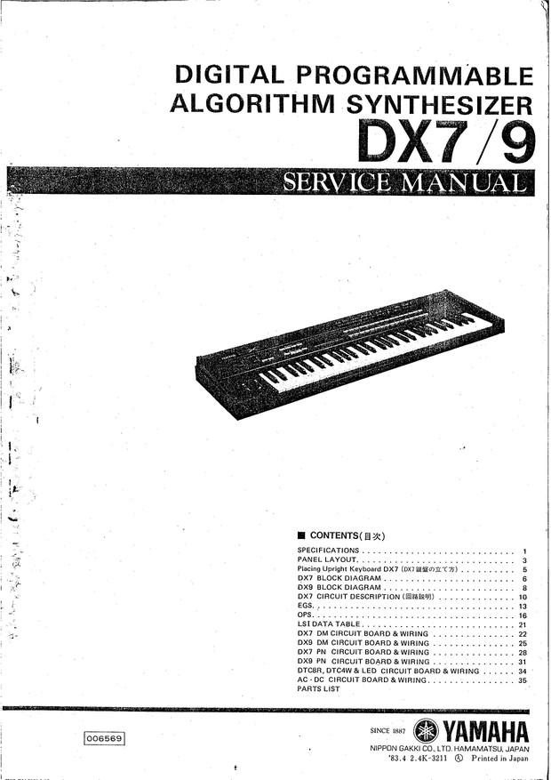 Yamaha DX7/9 Service Manual