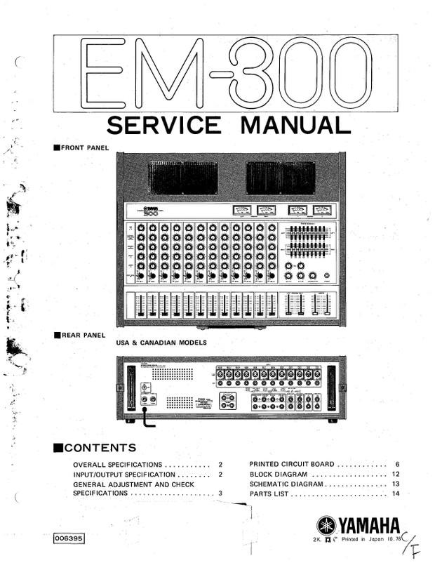Yamaha EM300 Service Manual