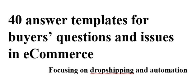 Customer Service Templates - Dropshipping, eBay, eCommerce - english new