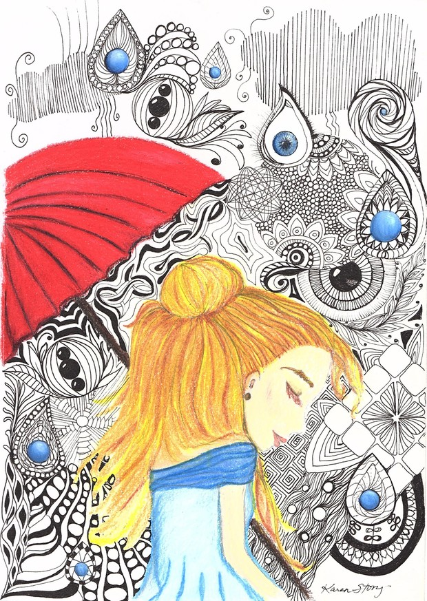 Girl with Umbrella and Zentangles