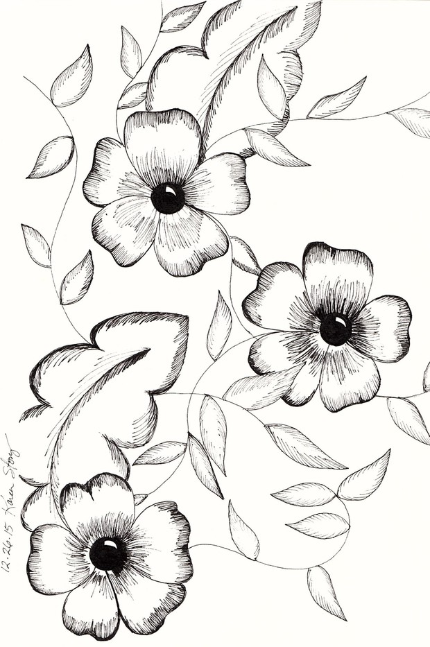 Vintage Black and White Flowers