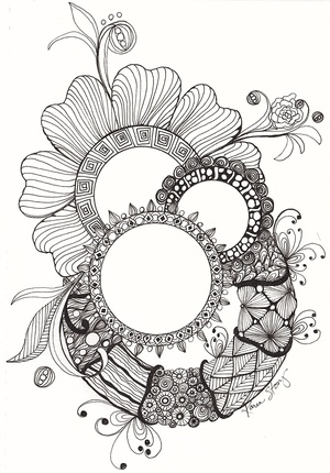 Gems and Wreaths (Black/White)