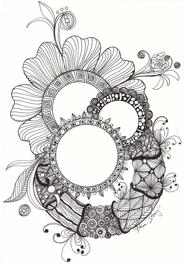 Gems and Wreaths (Black/White)