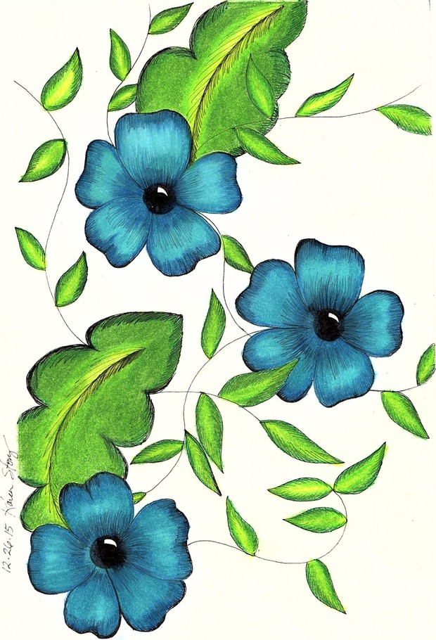 Vintage Aqua Flowers