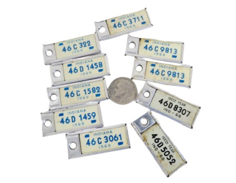 60s Miniature License Plates, Vintage Key Chain Tags