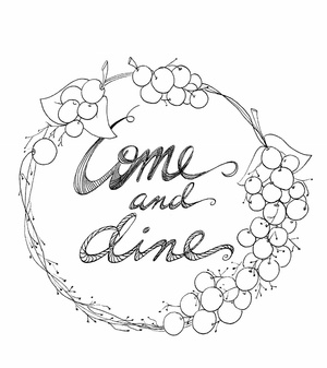 Grape Wreath Kitchen Coloring Page
