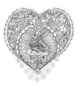 Rose and Heart Coloring Page