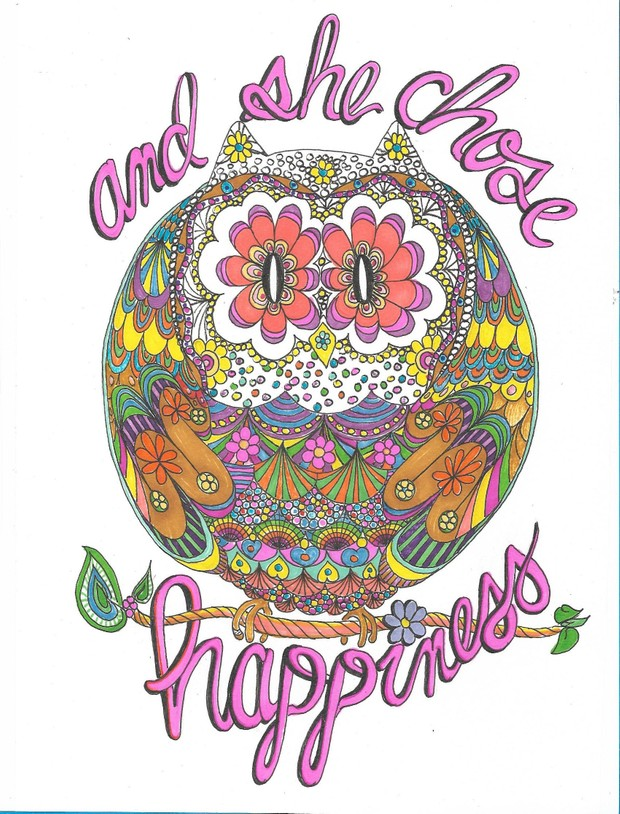 Happy Hippy Owl Coloring Page